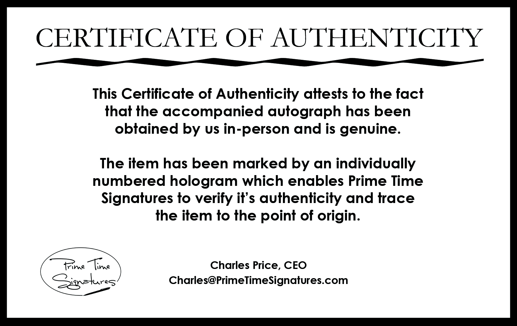 Certificate of authenticity autograph template 28 images for Certificate of authenticity autograph template